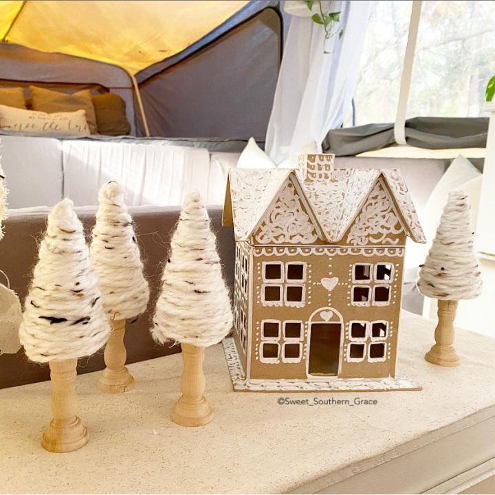 DIY CARDBOARD GINGERBREAD HOUSE and YARN CHRISTMASTREES